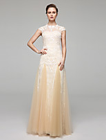 LAN TING BRIDE A-line Wedding Dress Wedding Dress in Color Floor-length Jewel Chiffon Lace with Appliques Draped