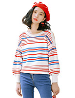 Women's Going out Casual/Daily Simple Regular Pullover,Solid Striped Round Neck Long Sleeve Cotton Spring Fall Medium Micro-elastic