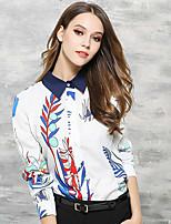 Для женщин На каждый день Офис Весна Лето Рубашка Рубашечный воротник,Шинуазери (китайский стиль) С принтом Длинный рукав,Хлопок,Тонкая