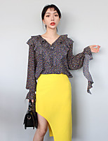 Han Guoguan network like spring new girls floral shirt flouncing