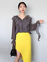 Han Guoguan rede como nova primavera meninas floral camisa Flouncing