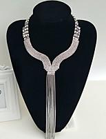Свадебные комплекты ювелирных изделий Базовый дизайн Мода Регулируется Стразы Сплав В форме сердца Серебряный 1 ожерелье 1 пара сережек