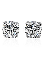Classic Silver Plated 4 Prongs Clear Round Crystal Imitation drill Stud Earrings for Party Women Jewelry Accessiories