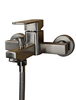 Contemporary Art Deco/Retro Modern Tub And Shower Widespread with  Ceramic Valve Single Handle Two Holes for  Stainless Steel , Bathtub