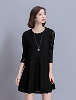 Women's Going out Casual/Daily Lace Dress,Color Block Round Neck Above Knee Long Sleeve Rayon Nylon Spring Summer Mid Rise Micro-elastic