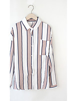 Damen Gestreift Einfach Lässig/Alltäglich T-shirt,Halter Langarm Baumwolle