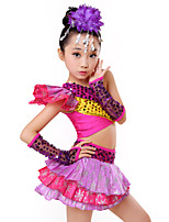Jazz Outfits Kid's Performance Spandex Milk Fiber Lace Tiers Paillettes 4 Pieces Sleeveless Natural Top Skirt Gloves