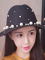 Women Solid Color Rivet Pearl Decoration Fold Fisherman England Fashion Big Eaves Wool Hat