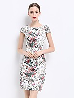 Women's Going out Sexy Sophisticated Sheath Dress,Floral Round Neck Above Knee ½ Length Sleeve Polyester Summer Mid Rise Inelastic Medium