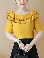 Women's Slim chic Summer Blouse Solid Patchwork Ruffle Boat Neck  Length Sleeve Thin