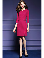 Women's Going out Casual/Daily Party Sheath Dress,Solid Asymmetrical Above Knee ¾ Sleeve Polyester Spring Fall Mid Rise Inelastic Medium