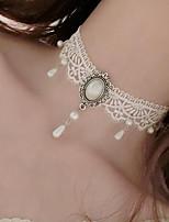 Жен. Ожерелья-бархатки Искусственный жемчуг Искусственный жемчуг Кружево В форме цветка Тату-дизайн Цветочный дизайн В виде подвески Белый