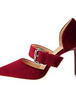 Femme-Habillé-Gris Rouge Rose Chair Bourgogne-Talon Aiguille-Confort-Sandales-Daim