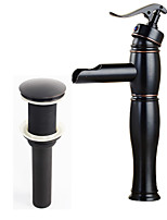 Country Modern Centerset Waterfall Pre Rinse with  Ceramic Valve Single Handle One Hole for  Nickel Brushed , Bathroom Sink Faucet