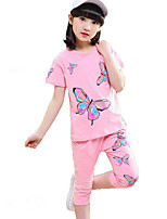 Girls' Casual/Daily Sports Solid Print Sets,Cotton Summer Short Sleeve Clothing Set