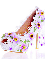 Women's Heels Spring Summer Fall Comfort Novelty Patent Leather Wedding Party & Evening Dress Stiletto Heel Applique Flower Walking