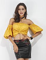 Women's Casual/Daily Street chic Summer T-shirt,Solid Boat Neck Short Sleeve Cotton Medium