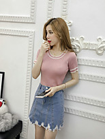 Women's Going out Casual/Daily Regular Pullover,Color Block Round Neck Short Sleeve Cotton Spring Summer Thin Stretchy
