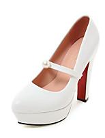Feminino-Saltos-Sapatos clube-Salto Grosso-Branco Preto Rosa claro-Couro Ecológico-Escritório & Trabalho Social Festas & Noite