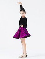 Latin Dance Outfits Kid's Performance Velvet Ruched Splicing 2 Pieces Long Sleeve Natural Top Skirt