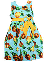 Girls Dress Blue Pineapple Print Bow Dresses Cotton Linen Party Pageant Kids Clothing