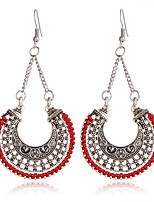 Drop Earrings Alloy Carved Flower White Black Dark Blue Red Jewelry Casual 1 pair