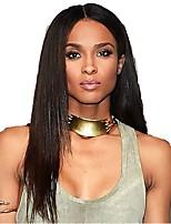검은 색 여성을위한 처리되지 않은 스트레이트 레이스 정면 가발 아기 머리 인간의 머리 가발