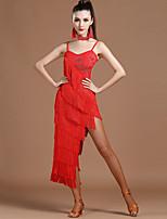 Latin Dance Dresses Women's Performance Spandex Tassel(s) 1 Piece Sleeveless Natural Dress