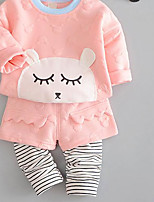 Girl Casual/Daily Striped Animal Print Sets,Cotton Spring Clothing Set