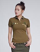 Damen Solide Einfach Lässig/Alltäglich T-shirt,Hemdkragen Sommer Kurzarm Baumwolle Mittel