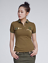 Women's Casual/Daily Simple Summer T-shirt,Solid Shirt Collar Short Sleeve Cotton Medium