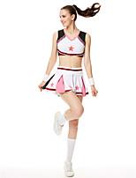 Fantasias para Cheerleader Roupa Mulheres Actuação Modal Bloco de Cor 2 Peças Sem Mangas Alto Blusa Saia