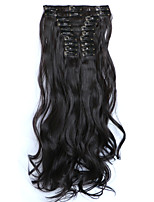12pcs/Set 150g  Dark Wine Wavy Hair Extension Clip In Synthetic Hair Extensions