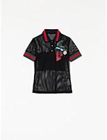 Damen Solide Einfach Lässig/Alltäglich T-shirt,Hemdkragen Sommer Kurzarm Kunstseide Dünn