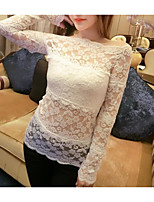 Women's Casual/Daily Sexy Blouse,Solid Boat Neck Long Sleeve Polyester Thin