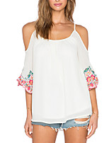 Women's Going out Casual/Daily Sexy Vintage Off-the-shoulder Chiffion Loose Backless Spring Summer T-shirtFloral Strap  Length Sleeve Medium