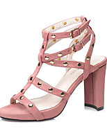 Women's Sandals Spring Summer Gladiator Suede Dress Chunky Heel Beading Buckle