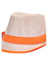 Men Linen Jazz Splicing Color Small Hat Beach Flat Top Shade Hat