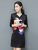 Sign in spring 2017 new women's printed v-neck Korean Slim was thin A word skirt long-sleeved dress