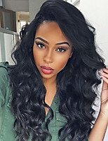 Long Body Wave Lace Wig 150% Density Brazilian Virgin Hair Natural Color Lace Front Wig  for Black Women