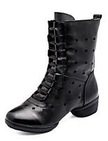 Na míru-Dámské-Taneční boty-Taneční bory-Kůže-Nízký podpatek-Černá Červená Bílá