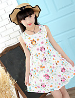 Girls Dress White Owl Bird Flower Print Party Princess Casual Summer Kids Clothing