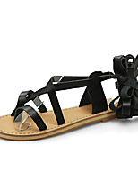 Women's Sandals Ankle Strap PU Office & Career Party & Evening Dress Flat Heel Lace-up
