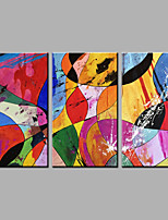 Hand-Painted Abstract Vertical,Modern Three Panels Canvas Oil Painting For Home Decoration