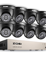 ZOSI® 8CH HD-TVI 1080N DVR Security Surveillance System with 8PCS High Resolution 720P 1280TVL Cameras