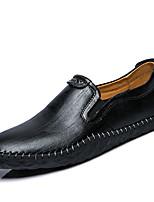 Белый Черный Коричневый-Для мужчин-Для прогулок Для офиса Повседневный-Кожа-На плоской подошве-Удобная обувь Мокасины-Туфли на шнуровке