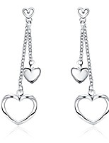 Concise Silver Plated Sweety Heart Waterdrop Earrings for Party Women Jewelry Accessiories