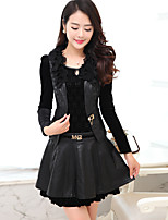 2017 spring new long-sleeved dress two-piece large size women's spring and autumn gold velvet skirt bottoming PU leather skirt
