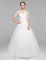 LAN TING BRIDE Robe de Soirée Robe de mariée Tout Simplement Superbe Traîne Brosse Bateau Dentelle avec Appliques Drapée