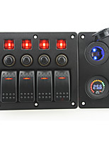 IZTOSS red led DC24V 4 Gang on-off rocker switch curved panel and circuit breaker with label stickers and blue led cigarettel power socket and DC24V v